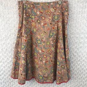 Boden Floral Godet  Flare Skirt